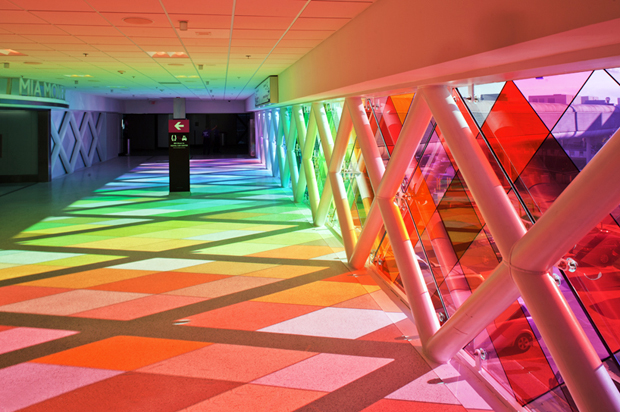 COLORFUL WALKWAY AT MIAMI AIRPORT BY CHRISTOPHER JANNEY