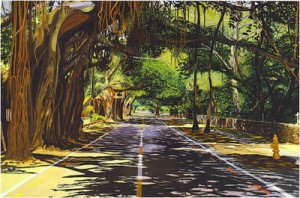 painting of coral way canopy road miami