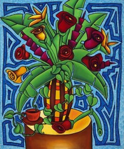 caribbean tropical roses painting
