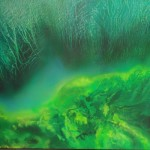 green amazon abstract painting looks like green waves