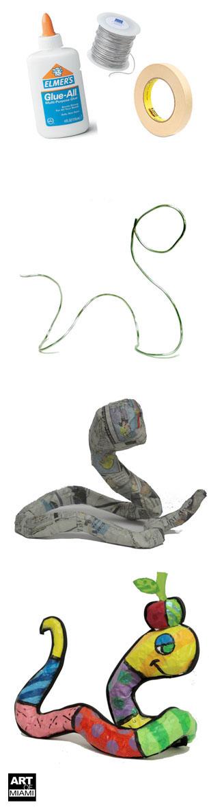 romero britto paper mache snake