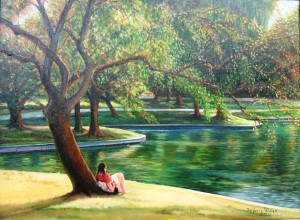 GREEN LANDSCAPE WITH GIRL READING BOOK