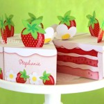 paper strawberry cake sculpture