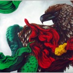mexican flag animated with eagle and snake fighting
