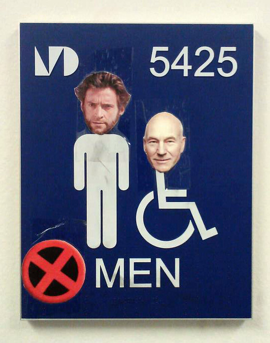 WOLVERINE AND XAVIER RESTROOM SIGN IN MIAM- DADE
