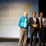 "The Arts for Learning ""Ray of Light"" award was presented to Alberto Carvalho at Arts for Learning's 4th Annual ""Breakfast for Brilliance"" at the Light Box at Goldman Warehouse in the Wynwood Arts District. Pictured from left to right: Daniel Lewis, Founding Dean of Dance, Alberto Carvalho MDCPS Superintendent, and Eduardo Martinez."