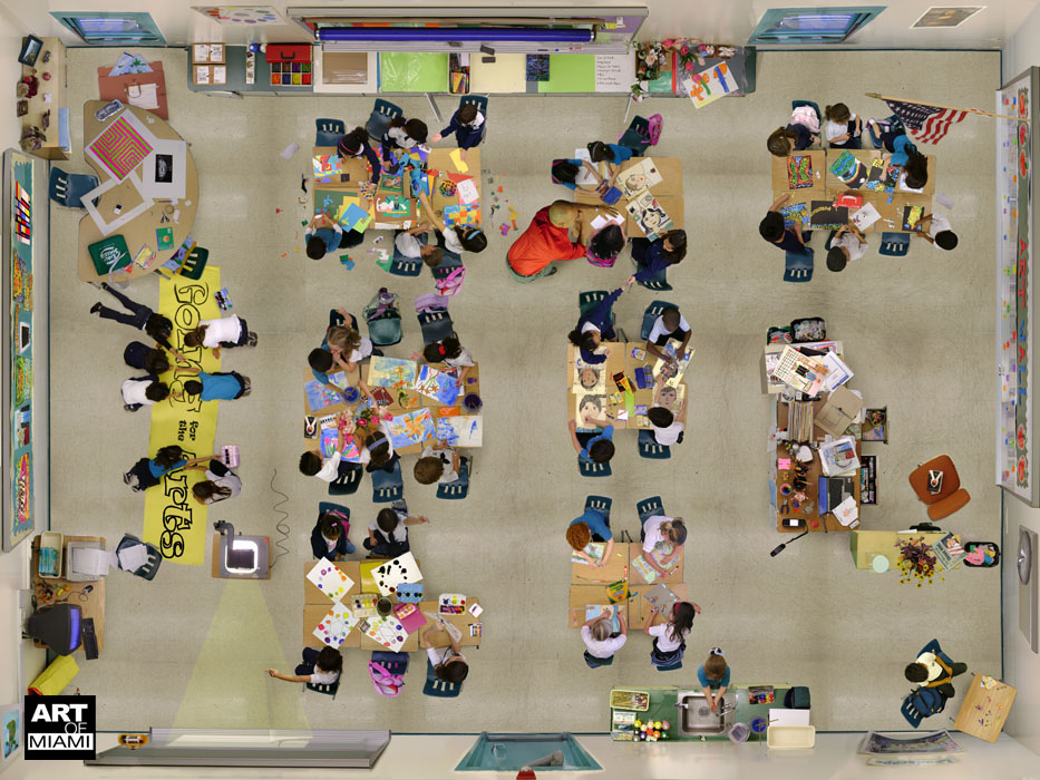 aerial view of the art classroom