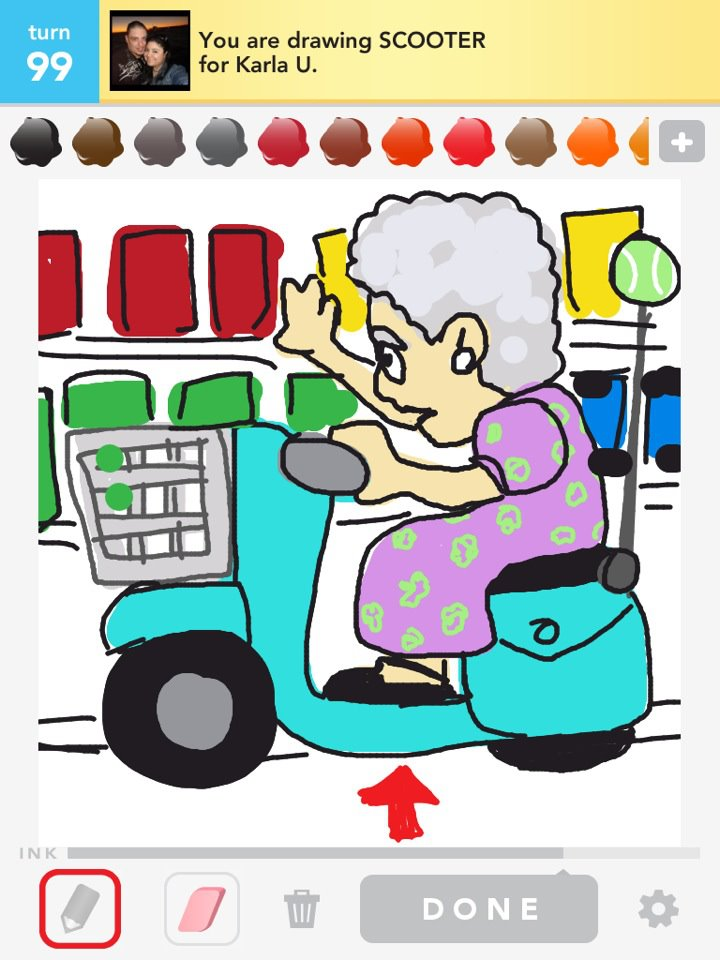 draw something: scooter and an old lady at the super market