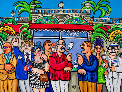 painting cubans in miami at the coffee shop