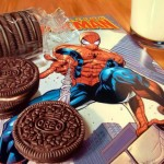 photo realism painting with oreos and spiderman