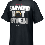 lebron t-shirt saying earned not given
