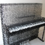 piano made of floating buttons