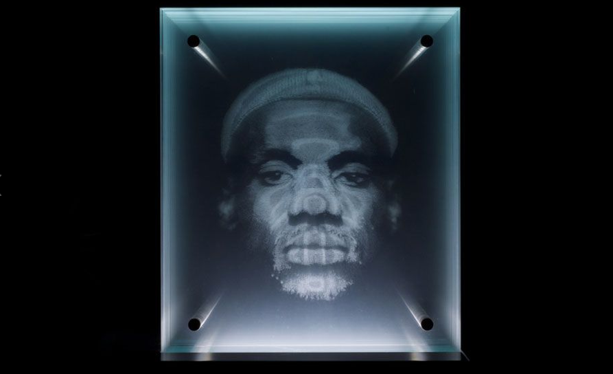 lebron james portrait using glass