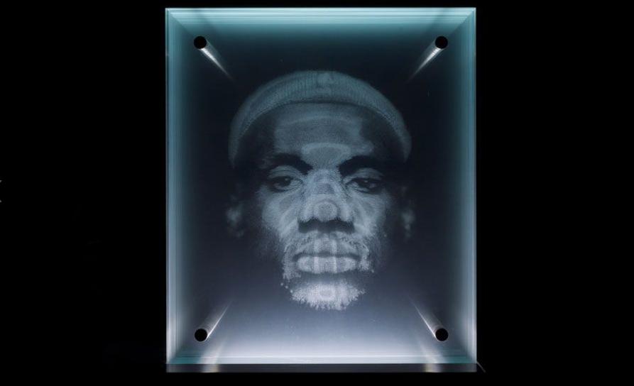lebron james portrait using glass