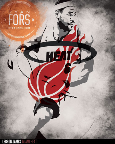 lebron james art by ryan fonts