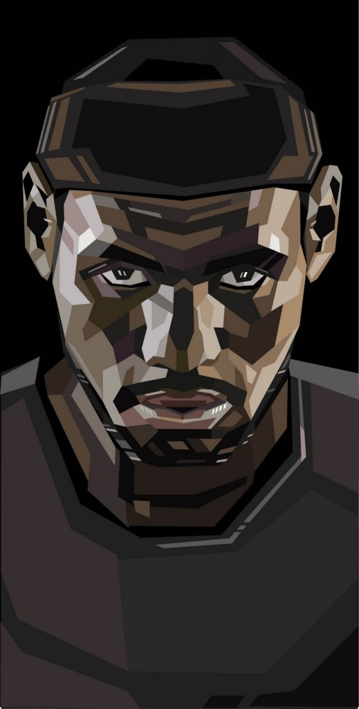 geometric lebron james portrait