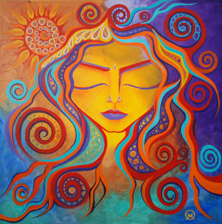 colorful woman with hair from spirals