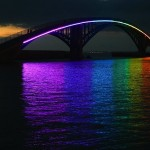 Illuminated Xiying Rainbow Bridge At Sunset...MAGONG, CHINA - JULY 27: The illuminated Xiying Rainbow Bridge at sunset on July 27, 2012 in