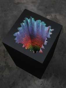 holographic paper sculpture by jen stark at art basel 2012