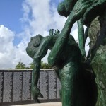 detail woman clutching child at the holocaust memorial miami