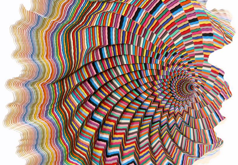 papers sculpture at art basel miami by jen stark
