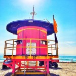 round pink aqua blue miami beach art deco lifeguard stands
