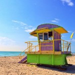 pink aqua blue miami beach art deco lifeguard stands