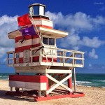 red and white pink  miami beach art deco lifeguard stands