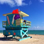 blue white pink miami beach art deco lifeguard stands