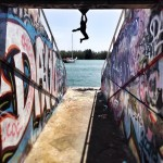 rock climber at Miami Marine Stadium