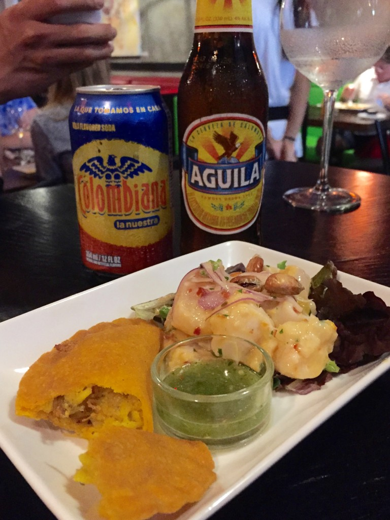 Empanada and Ceviche at Bolivar Restaurant in South Beach