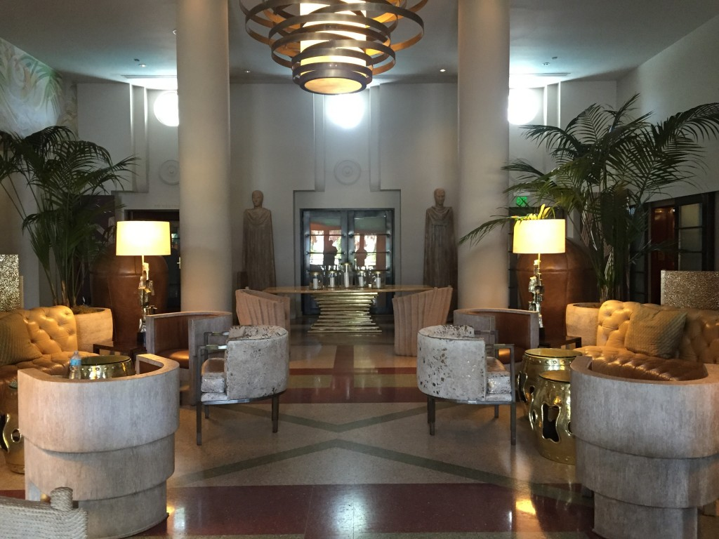 Symmetrical interior of the Tides Hotel in South Beach.
