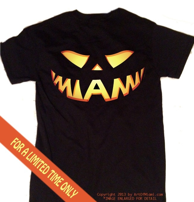 Miami t-shirt for halloween jack o lantern black